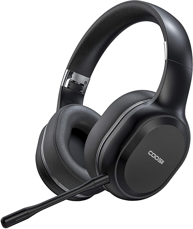홈 오피스 온라인 클래스듀얼 마이크와 COOSII P80C 블루투스 헤드폰 무선 귀 부드러운 귀 컵 스테레오 헤드셋을 통해 노트북 크롬 북 휴대 전화 스카이프 줌40H 재생 시간