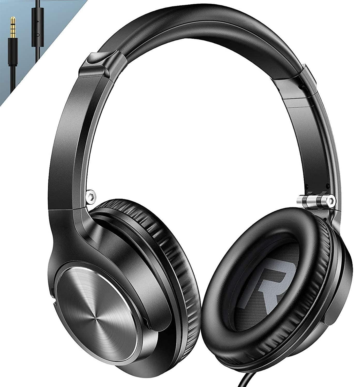 마이크가 있는 귀 헤드폰 깊은 베이스가 있는 유선 접이식 헤드셋 소음 격리 1.5M 엉킴 무료 코드 및 스마트폰 노트북 컴퓨터 크롬북 줌용 편안한 이어패드 블랙