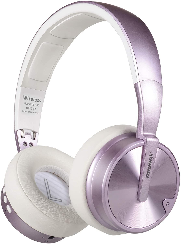 블루투스 헤드폰 RIWBOX XBT-90 접이식 무선 블루투스 헤드폰 위에 귀 하이파이 스테레오 무선 헤드셋 마이크   TF 카드 및 PC   휴대 전화   TV   IPAD에 대 한 호환 볼륨 제어 (보라색)