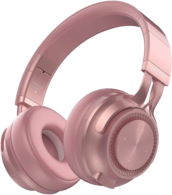 REETEC 무선 블루투스 헤드폰 V5.0 마이크와 함께 36 시간 재생 시간 귀 하이파이 스테레오 무선 헤드폰 깊은베이스 접이식 헤드셋 용 전화 TV PC 아이 패드 로즈 골드