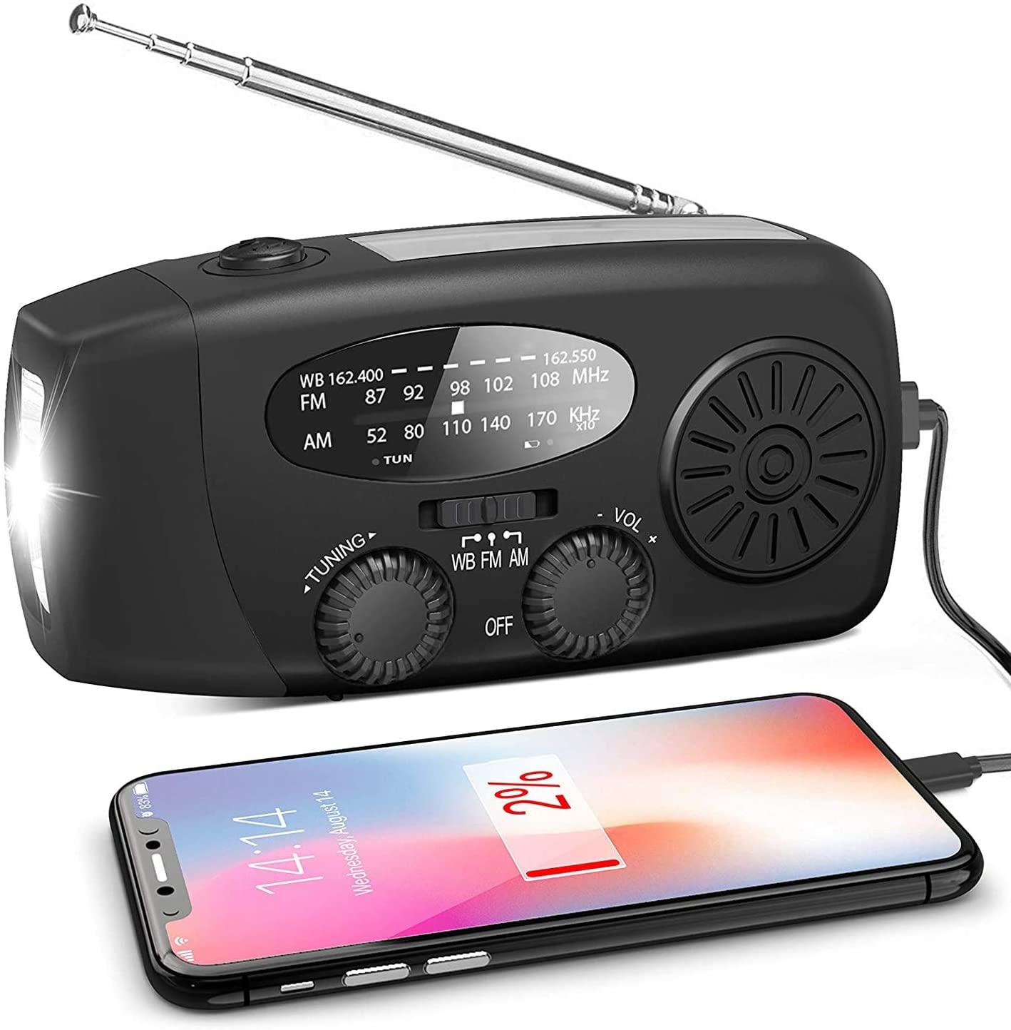 LIUDOU 날씨 라디오는 태양 라디오 비상 손으로 크랭크 자동 AM | FM 태양 지도된 플래쉬 등 1000MAH 비상 힘 은행 스마트폰