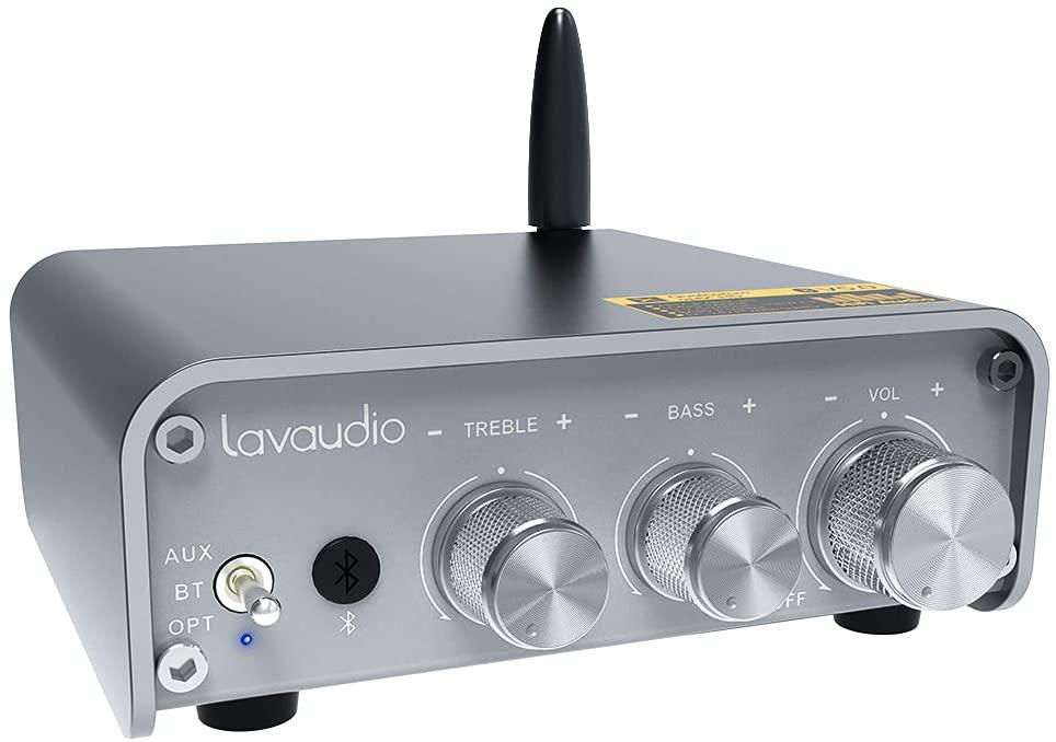 LAVAUDIO 미니 블루투스 오디오 증폭기 수신기 2.1 채널 HI-FI STEREO 홈 오디오 증폭기 APTX-HD 클래스 D 100WX2 를 위한 패시브 스피커 | 서브 우퍼 3.5MM RCA | 광학 입력