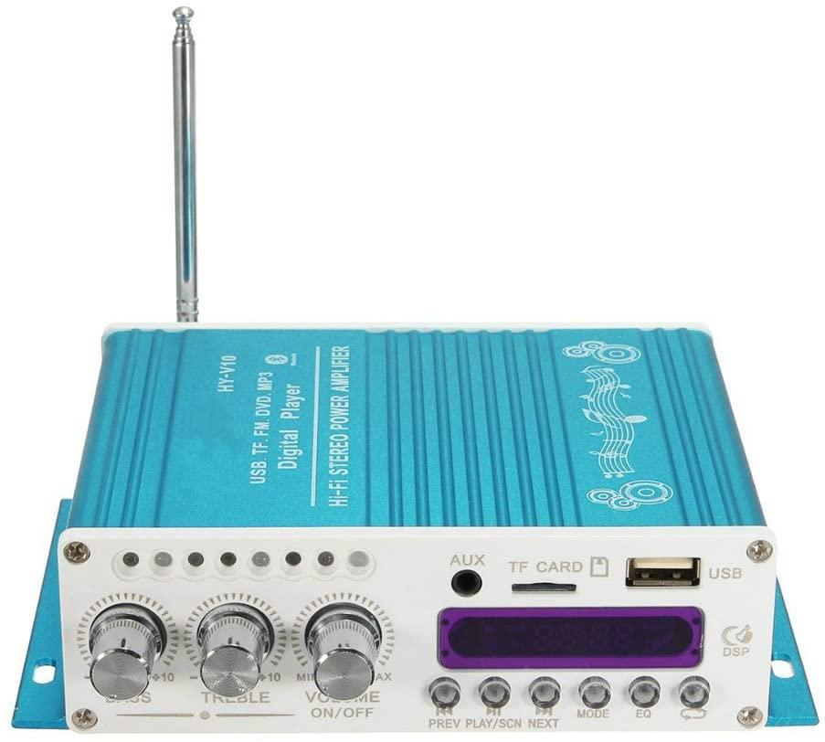 V10 미니 블루투스 차량용 증폭기 12V DC 2 채널 하이파이 무선 슈퍼 베이스 오디오 파워 앰프 리모트 컨트롤러 지원 FM | MP3 | TF | USB | DVD 에 대한 자동차 오토바이를 가정 스테레오(어댑터)블루