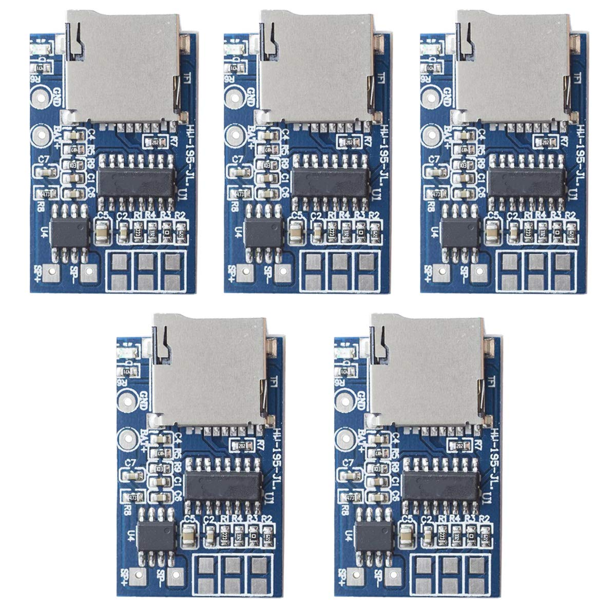DAOKI5PCS GPD2846A TF 카드 MP3 디코더 보드 2W 앰프 모듈 3.7V | 5V 전원 지원 FM 라디오 오디오 모드