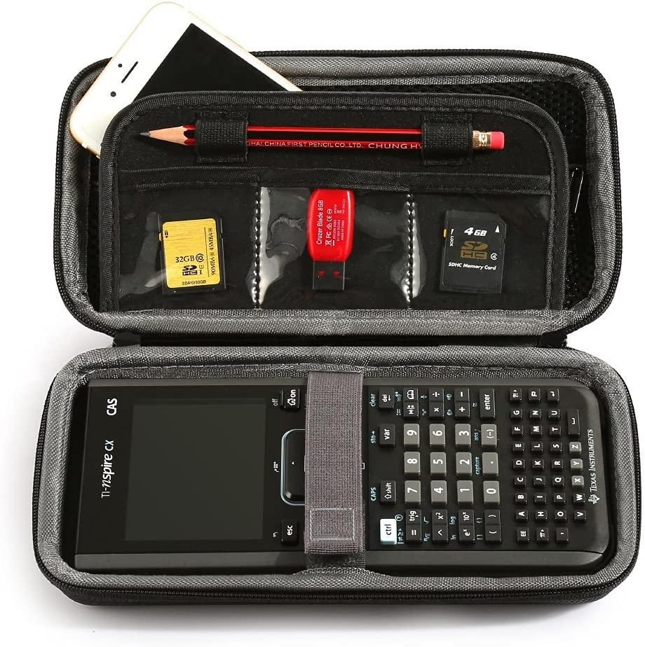 텍사스 인스트루먼트 TI-NSPIRE CX   CAS 그래프 계산기 및 메쉬 포켓 및 메모리 카드 및 펜 및 액세서리를위한 추가 공간용 LUCKYNV 휴대용 보호 상자 케이스