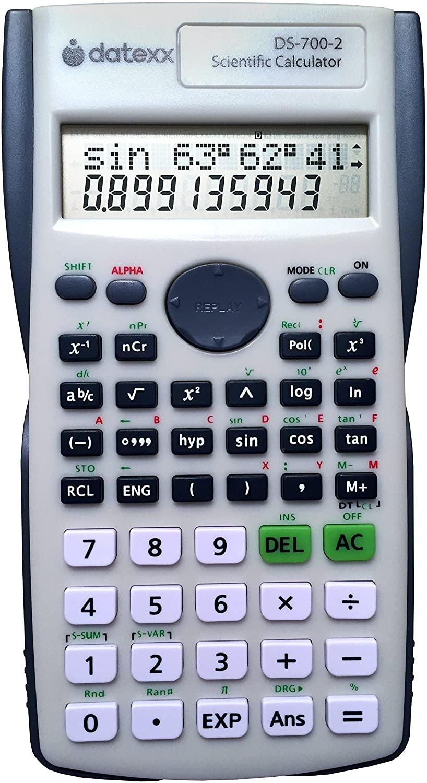 DATEXX DS-7002 두 라인 과학 계산기 과학 및 대수 계산을위한 200 기능