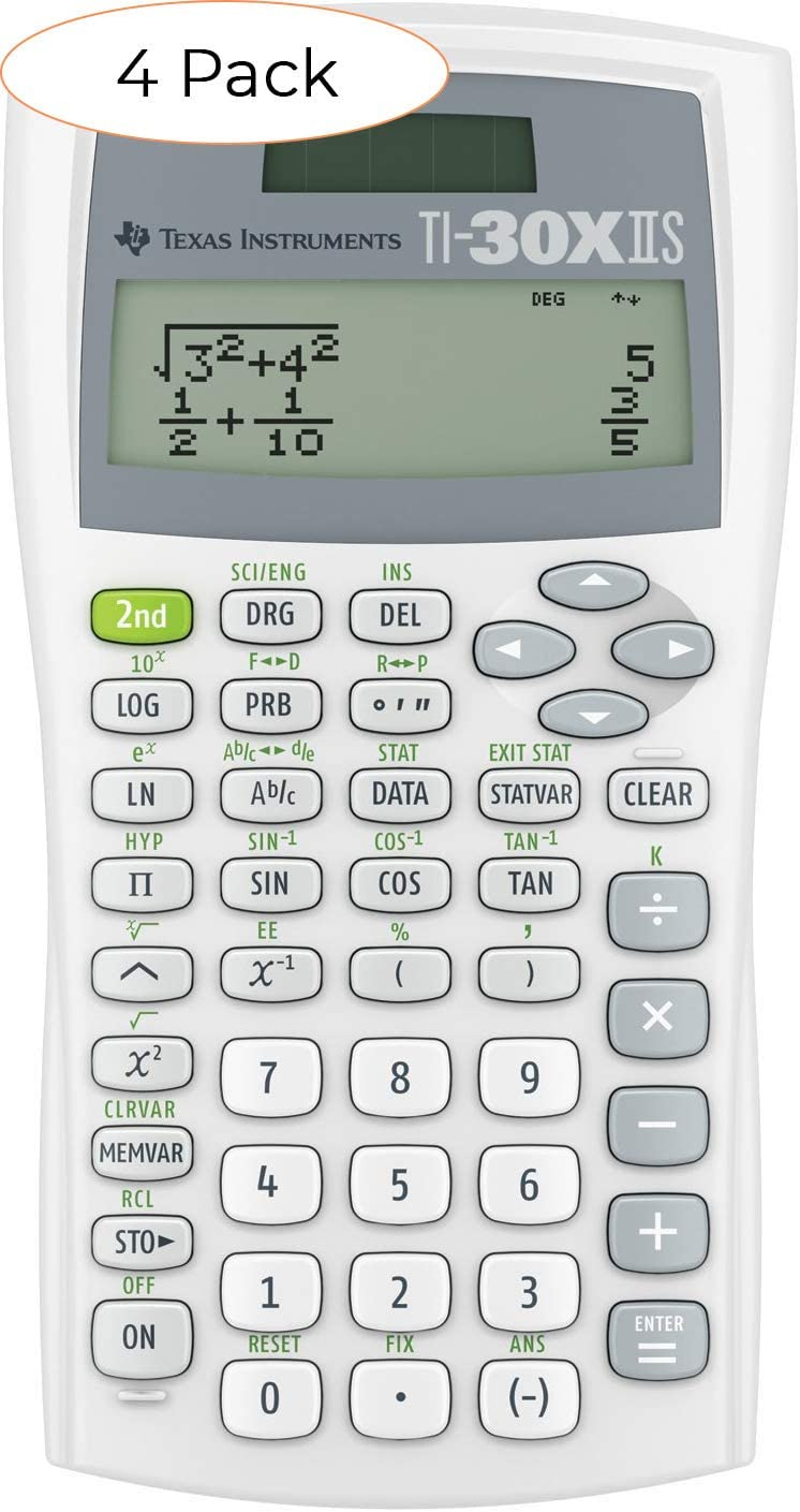 텍사스 인스트루먼트 TI-30XIIS 과학 계산기 화이트 (화이트 팩 4)