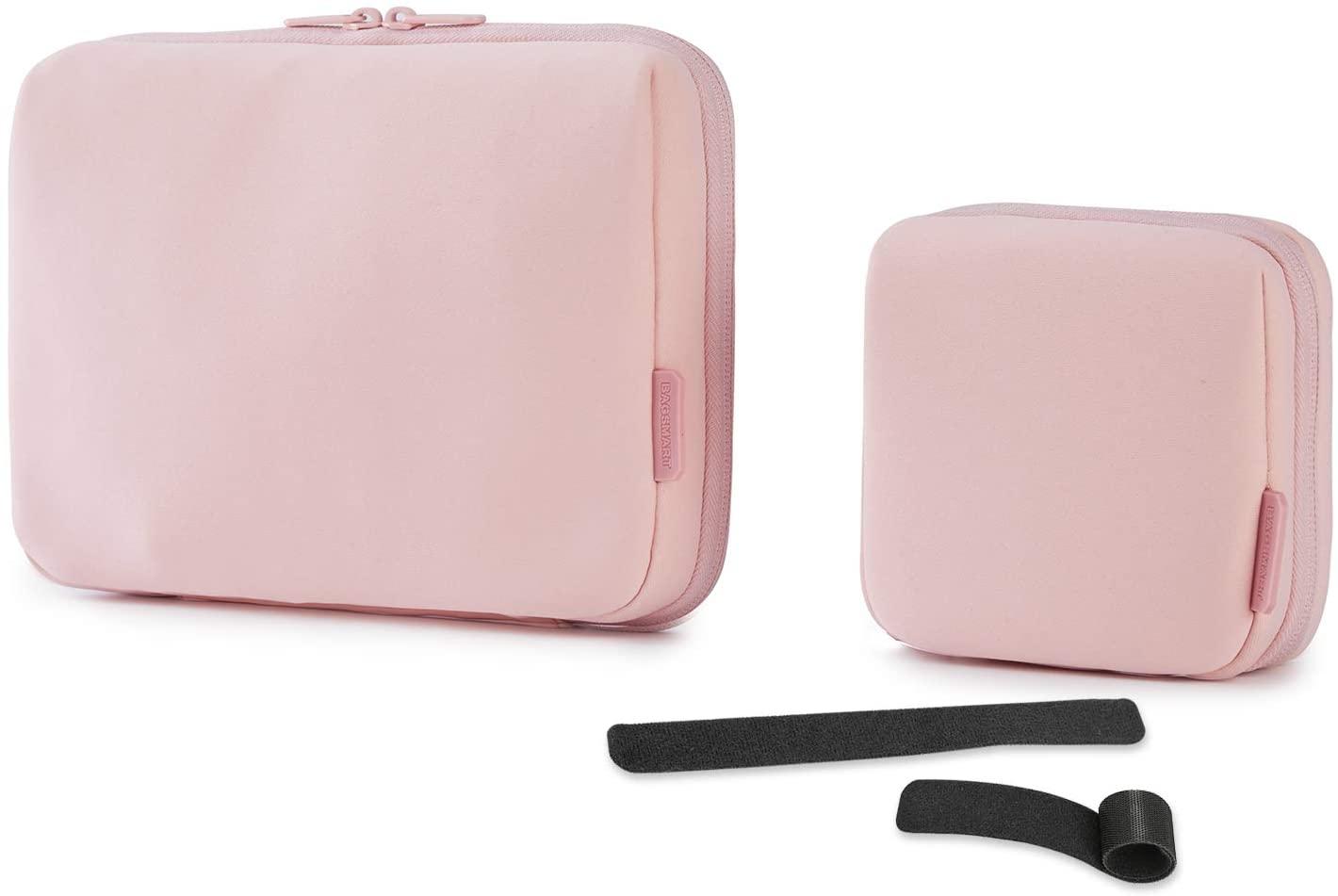 BAGSMART 케이블 전자 오거나이저 2PCS 여행 포장 가제트 가방 주머니 용 7.9 인치 아이 패드 케이블 마우스 전화 USB SD 카드 (핑크)