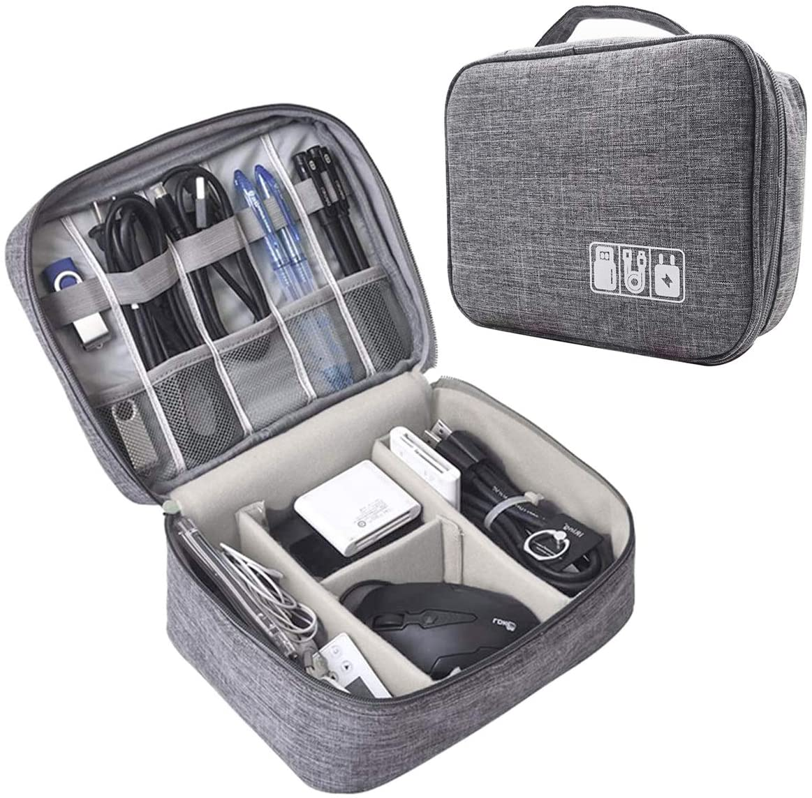 NISZON TRAVEL CABLE ORGANIZER BAG WATER RESISTANT PORTABLE ELECTRONICS ORGANIZER FOR USB CABLE CORD PHONE CHARGER HEADSET