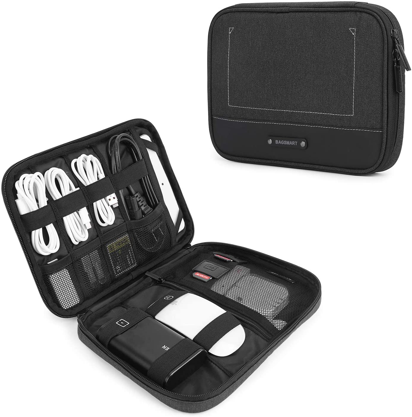 BAGSMART ELECTRONIC ORGANIZER TRAVEL CABLE ORGANIZER ELECTRONICS ACCESSORIES CASES FOR 7.9\u2019\u2019 IPAD MINI CABLES CHARGERS USB SD CARD