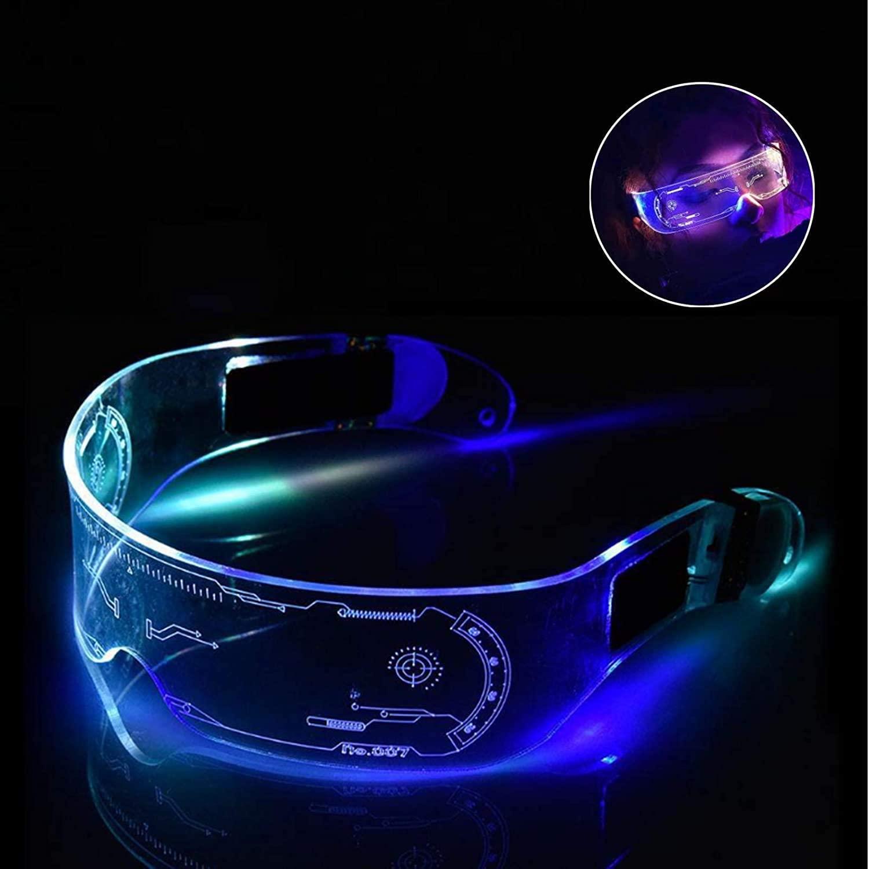 NUFR LED 미래 기술 발광 안경 사이버 펑크 안경은 파티 바 롤 플레잉 축제에 적합한 다양한 색상을 변경할 수 있습니다. (수동으로 색상을 변경(제어 가능))