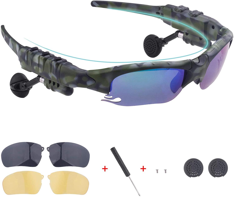 스마트 블루투스 선글라스 UV400 변색 렌즈 쉽게 전화를 걸고 음악 탐색을 듣기 위해 야간 투시경 노란색 렌즈 한 켤레(위장 그린) 한 쌍의 블랙 렌즈를 무료로 제공합니다