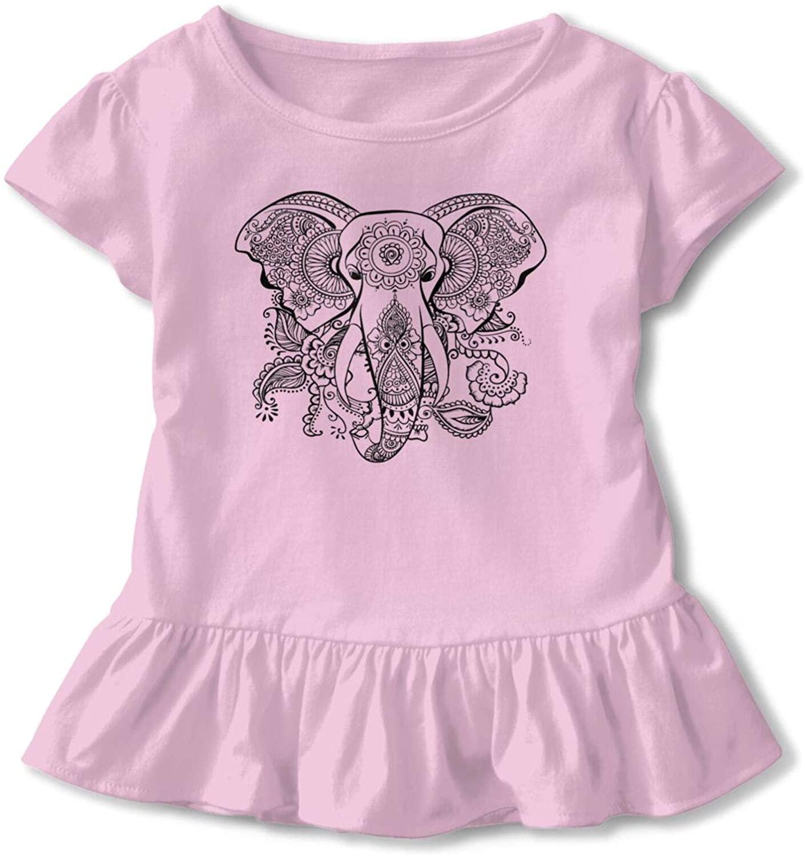 신생아 아기 소녀 캐주얼 탑스 짧은 소매 느슨한 부드러운 블라우스 튜닉 만다라 코끼리 로고 티셔츠
