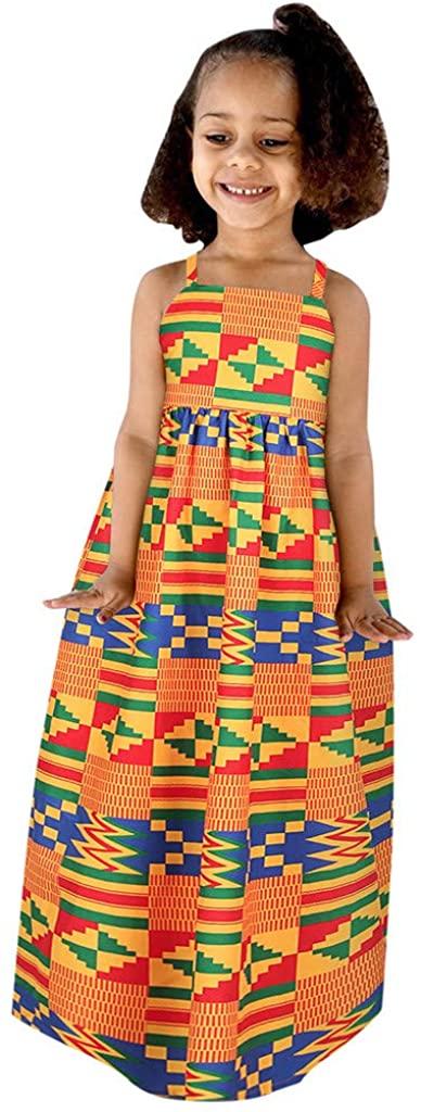 FRANTERD KIDS GIRLS 아프리카 프린트 서스펜더 백리스 프린세스 SUNDRESS PLAYWEAR 복장
