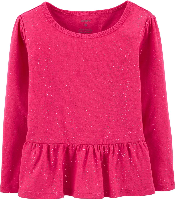 카터의 아기 소녀 반짝 이는 PEPLUM 긴 소매 탑 마젠타 핑크 3 개월