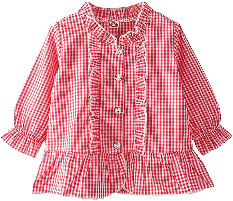 VASTWIT 유아 아기 소녀 1PC 봄 셔츠 체크 패턴 탑 긴 소매 프릴 커프 카디건 의류
