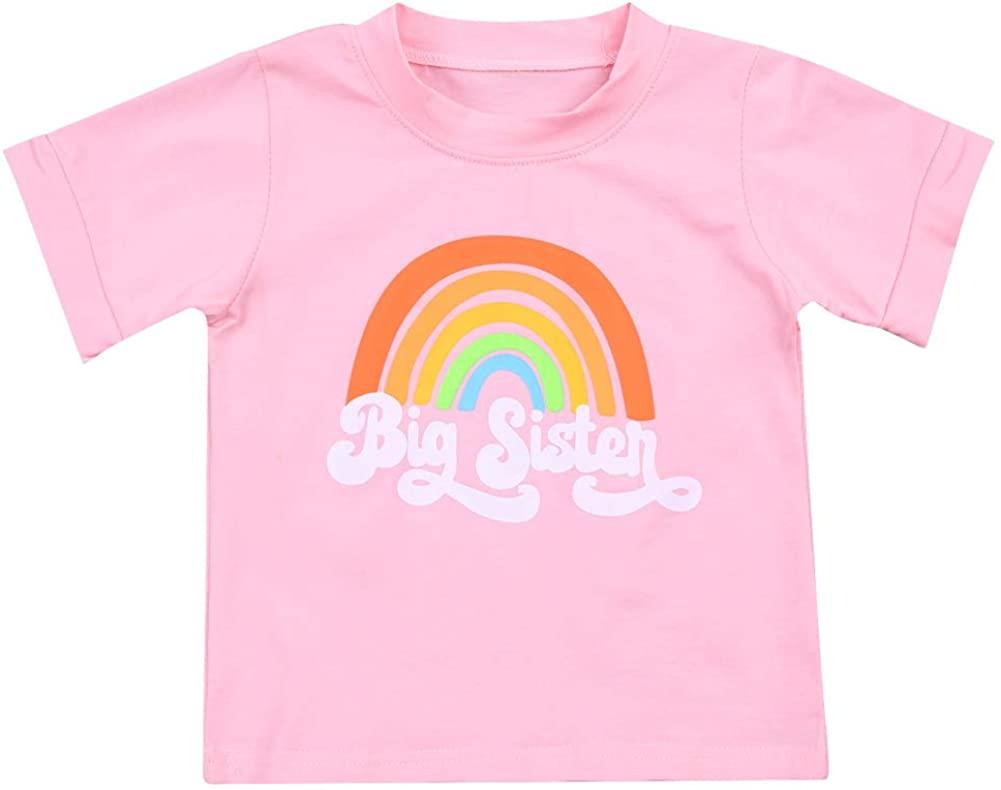유아 아기 소녀 큰 자매 티셔츠 짧은 소매 라운드 넥 CREWNECK 레인보우 블라우스 탑