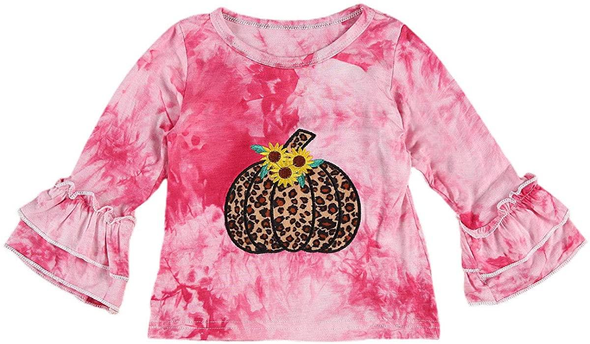 유아 어린이 아기 소녀 긴 소매 프릴 티셔츠 탑 타이 염료 블라우스 가을 겨울 풀오버 호박 탑 할로윈 의류