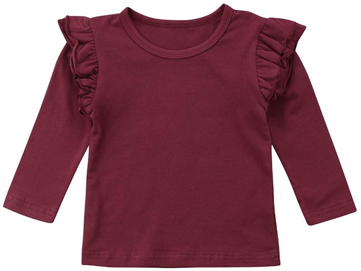 부티크 유아 어린이 아기 소녀 레이스 캐주얼 긴 소매 티셔츠 티 탑스 블라우스 의류