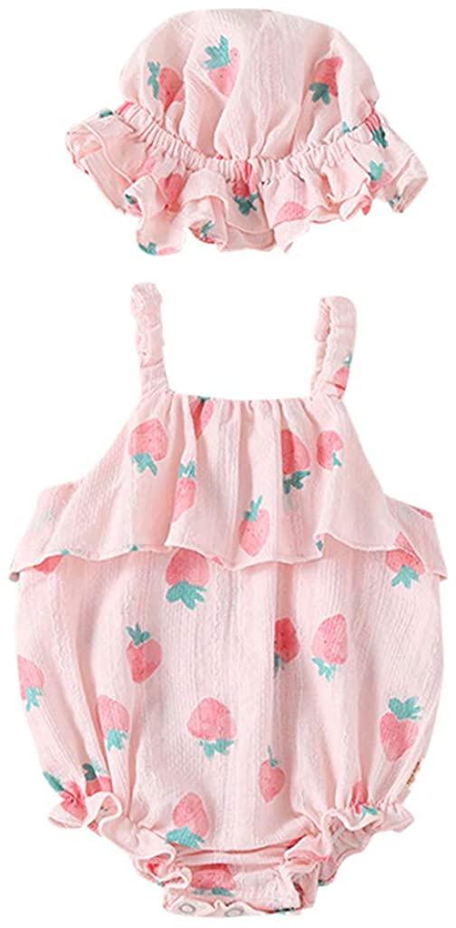 CUEKONDY 신생아 아기 소녀 귀여운 딸기 인쇄 장난꾸러기 슈트+태양 모 옷은 옷 0 18 개월