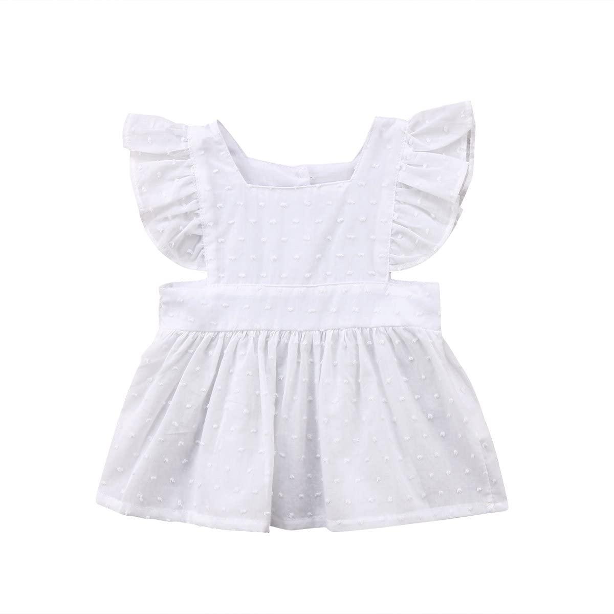 신생아 아기 GILRS 인과 화이트 프릴 블라우스 탑 셔츠 여름