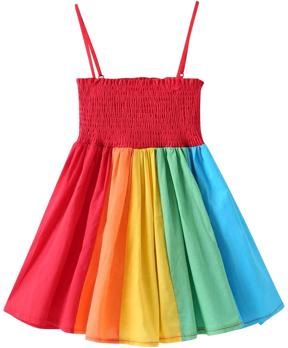 HATOYS 아기 소녀 드레스 SHIRRED 허리 PLEATED 드레스 레인보우 하단 스트랩 드레스