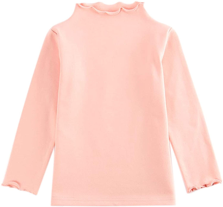 아기 소녀 긴 소매 프릴 티셔츠 기본 솔리드 속옷 풀오버 블라우스 탑