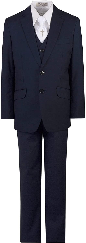 TUXGEAR 소년 네이비 블루 슬림 맞는 친교 정장 수 놓은 종교 크로스 넥타이