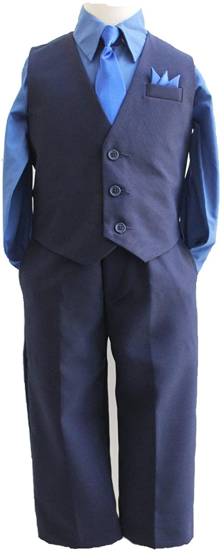 일치하는 넥타이와 셔츠와 라파엘 소년 네이비 블루 솔리드 조끼 세트