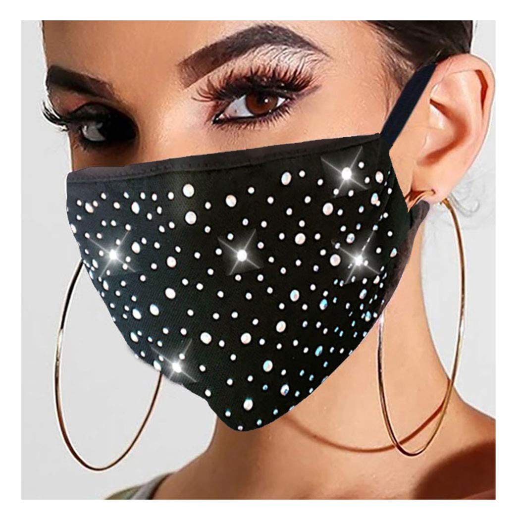 BARODE SPARKLY RHINESTONES MASK CRYSTAL BLACK FACE COVER GLITTERMASQUERADE MASKS PARTY CLUBWEAR JEWELRY FOR WOMEN AND GIRLS (BLACK)
