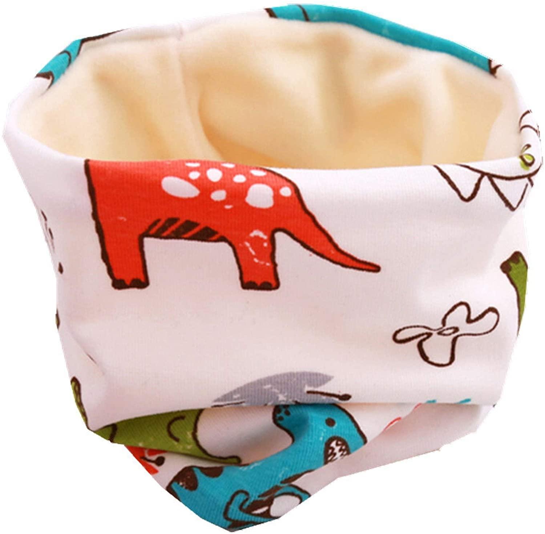 BILIBONY 스카프 설정을 위해 여성 봉제 어린이 모자 스카프 설정한 여자 아기 머리를 커버 겨울 따뜻한 아이 목 네크라인이 모자 세트(색상:백색 DINASOUR 크기:작)