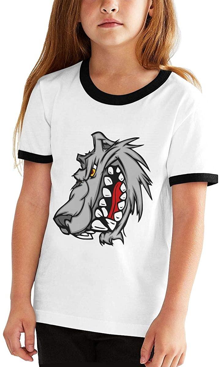 청소년 티셔츠 늑대 머리 소년 소녀 반팔 티셔츠 패션 티셔츠 하이틴 티셔츠 탑스 스포츠 야외 귀여운