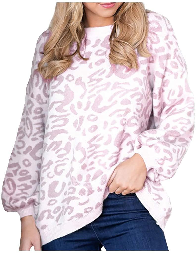 MISAKY-GIRLS 따뜻한 일일 레오파드 스플 라이스 뜨개질 점퍼 탑스 블라우스 스웨터