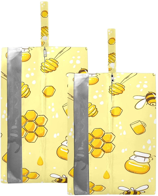 수지퍼 2 팩 세트 여행 신발 저장 주최자 가방 용 수지요 귀여운 비행 꿀벌 신발 가방