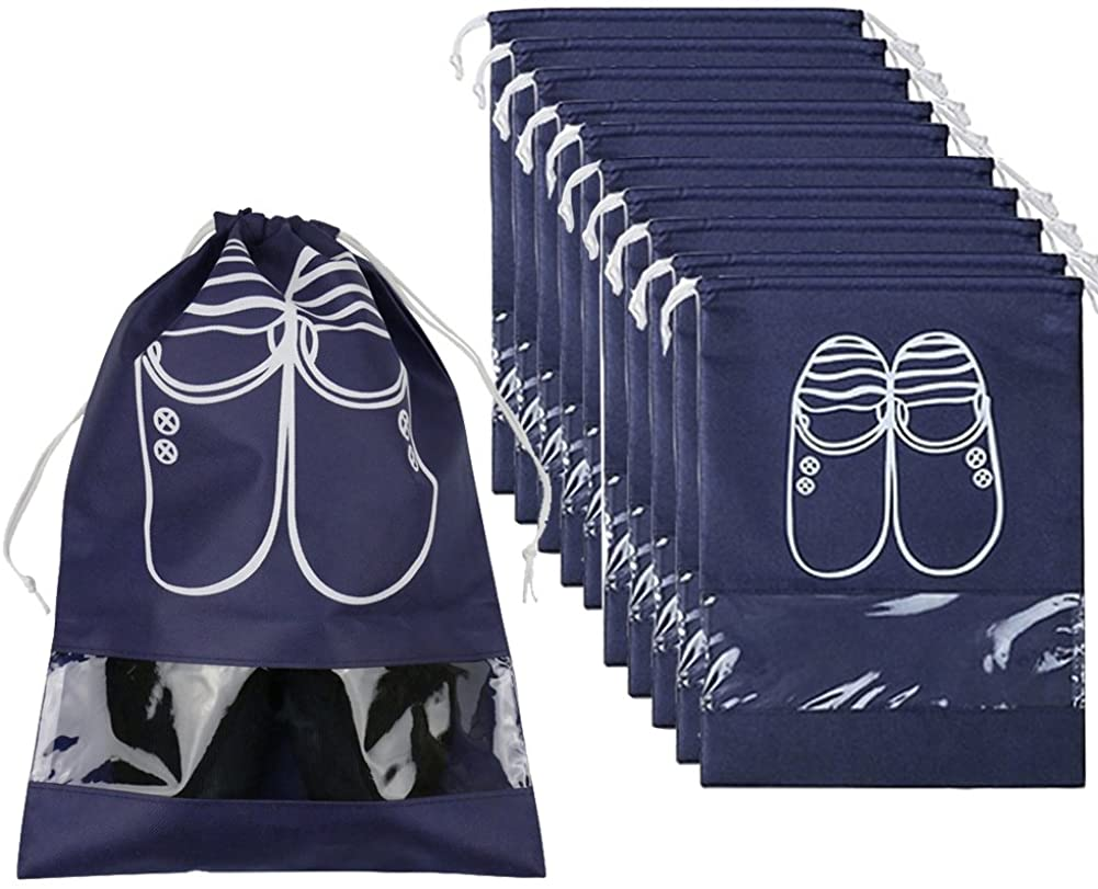 TRAVEL SHOE ORGANIZER BAGS FOR BOOTS HIGH HEEL DRAWSTRING TRANSPARENT WINDOW SPACE SAVING STORAGE BAGS 5 | 10 PACK