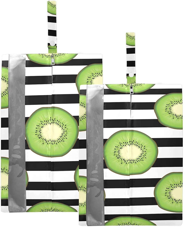 SUSIYO KIWI FRUIT BLACK STRIPE SHOE BAGS FOR TRAVEL SHOE STORAGE ORGANIZER BAGS SET ZIPPER 2 PACK