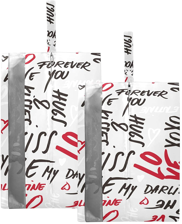 SUSIYO LOVE KISS ME SHOE BAGS FOR TRAVEL SHOE STORAGE ORGANIZER BAGS SET ZIPPER 2 PACK