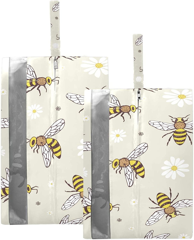 SUSIYO CARTOON DOODLE BEE SHOE BAGS FOR TRAVEL SHOE STORAGE ORGANIZER BAGS SET ZIPPER 2 PACK