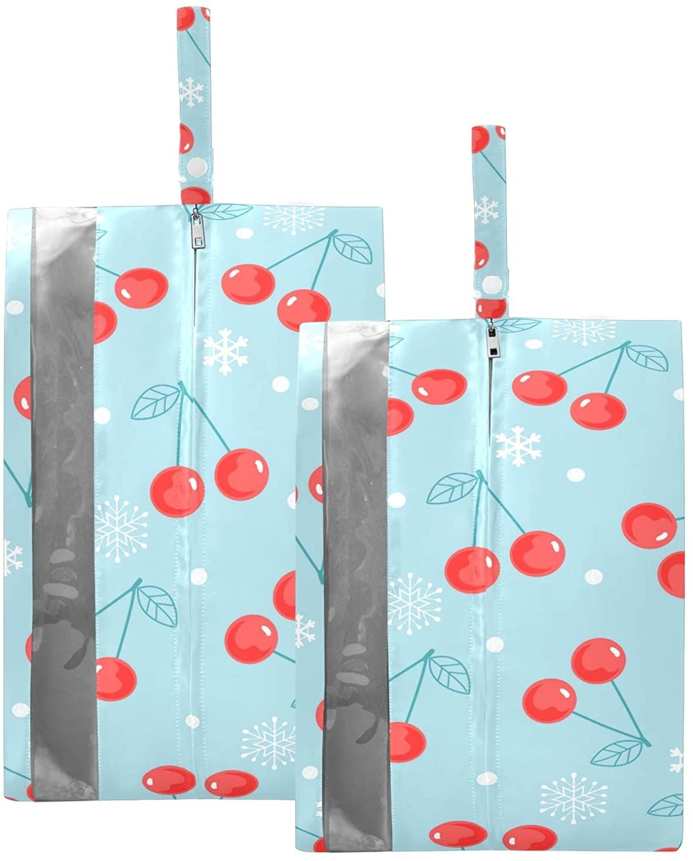 SUSIYO CHERRY FRUIT SNOWFLAKES SHOE BAGS FOR TRAVEL SHOE STORAGE ORGANIZER BAGS SET ZIPPER 2 PACK