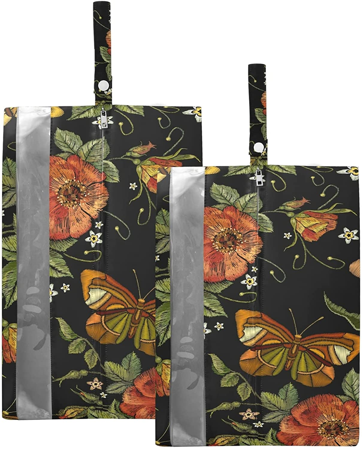 SUSIYO CHIC BUTTERFLY RED FLOWER SHOE BAGS FOR TRAVEL SHOE STORAGE ORGANIZER BAGS SET ZIPPER 2 PACK