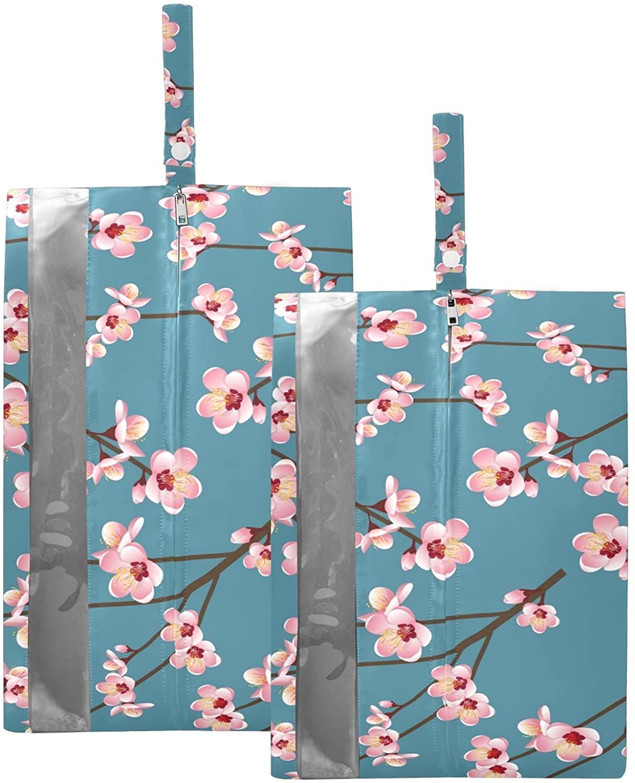 SUSIYO PINK PEACH BLOSSOM FLOWER SHOE BAGS FOR TRAVEL SHOE STORAGE ORGANIZER BAGS SET ZIPPER 2 PACK