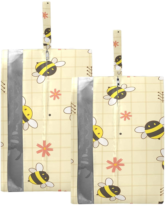 SUSIYO CUTE YELLOW BEES SHOE BAGS FOR TRAVEL SHOE STORAGE ORGANIZER BAGS SET ZIPPER 2 PACK