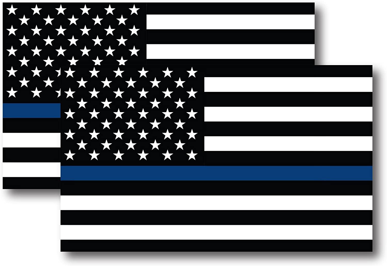 얇은 파란색 라인 미국 국기 자석 데칼 5 인치 X 3 인치 2 팩 - 자동차 트럭 SUV에 대한 무거운 의무 - 경찰과 법 집행 관의 지원에