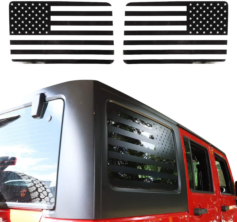 2011-2018 지프 랭글러 JKU (4 도어) 제카 미국 국기 창 데칼 비닐 후면 창 스티커