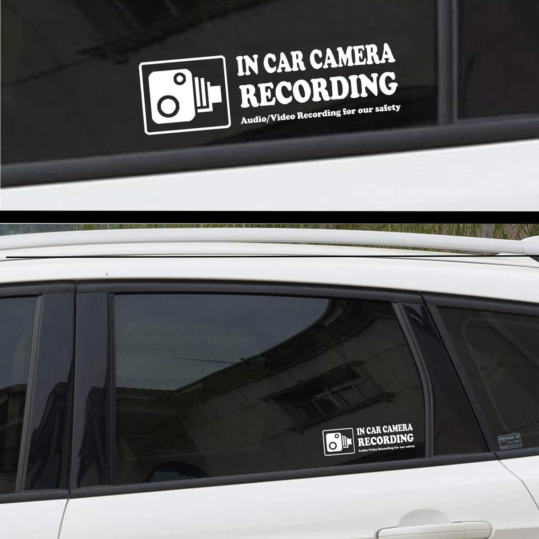 카메라 오디오 비디오 녹화 창 자동차 스티커 ? 4 징후 탈착식 재사용 실내 대시캠 사용 차량 경고 데칼 라벨 범퍼 정적 집착 액세서리 라이드 쉐어 택시 드라이버 (흰색)