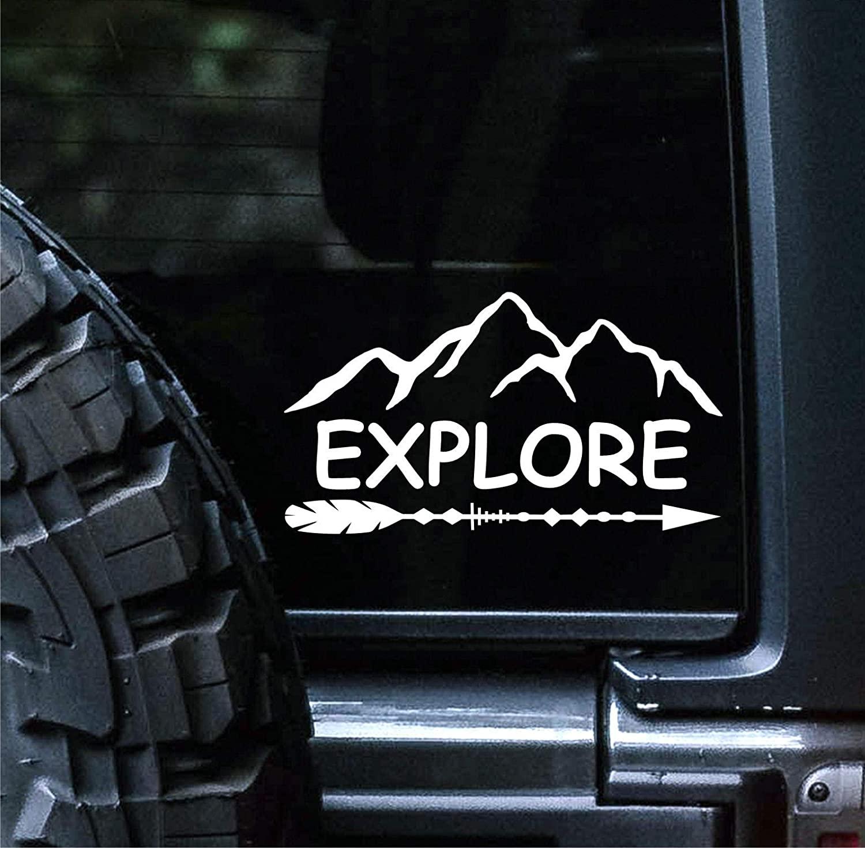 일몰 그래픽 및 데칼 탐색 데칼 비닐 자동차 스티커 하이킹 캠핑 | 자동차 트럭 밴스 벽 노트북 | 화이트 | 6 X 2.75 인치 | SGD000024