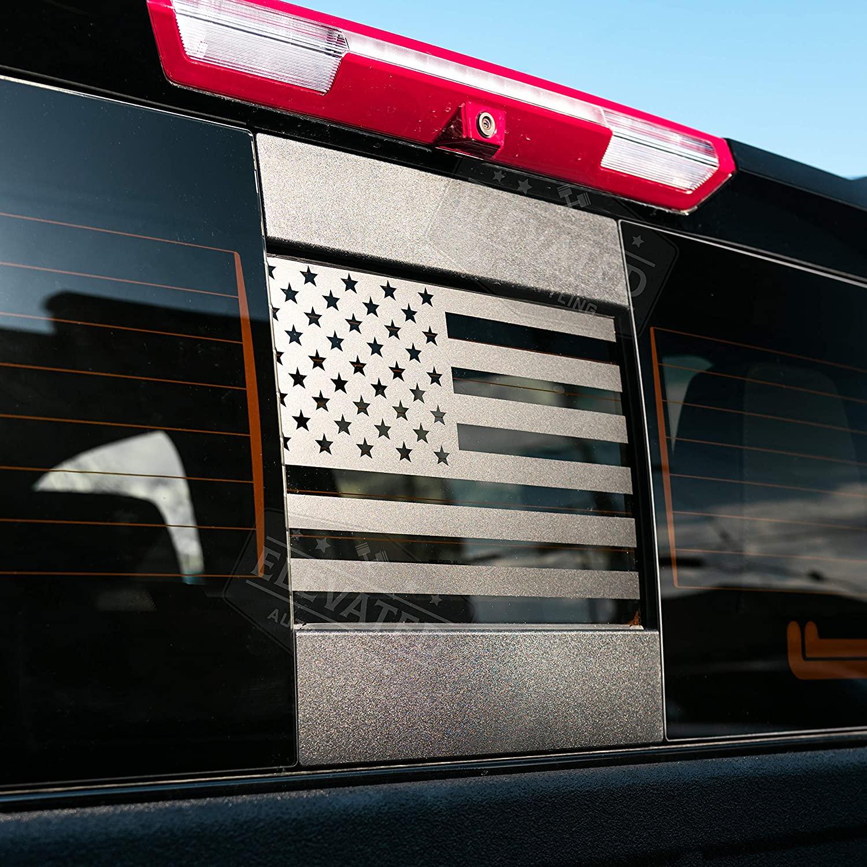 높은 자동 스타일링 - 후방 중간 창 미국 국기 는 시보레 실버라도 GMC 시에라 2019-2021 (블랙) (스트레이트) 적합