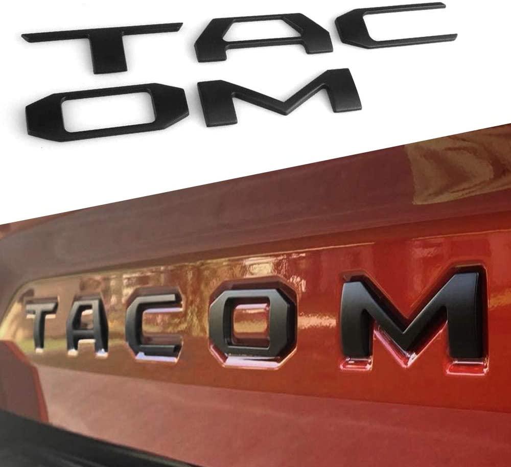 AOLEAD 테일게이트 엠블럼은 타코마 2016-2021 3D 제기 금속 매트 블랙에 대한 편지를 삽입