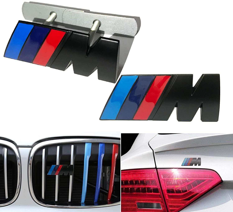 2 에서 1 BMW M 프론트 그릴 엠블럼 사이드 배지 스티커 3D 크롬 배지 금속 파워 카 패션 로고 BMW M3 M5 X1 X3 X5 X5 X6 E30 E34 E36 E39 E46 E46 E90 E92 (블랙)