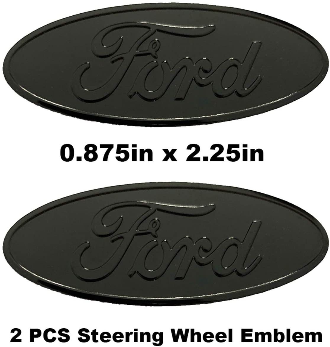 2 PCS 스티어링 휠 로고 알루미늄 엠블럼 배지 오버레이 데칼 스티커 F150 레인저 익스플로러 가장자리 탐험 (2 1   4
